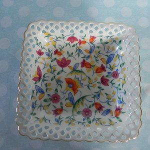 "Square 6 1/4""x 6 1/4"" Floral Antique Germany Bowl"